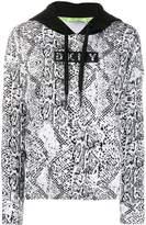 DKNY Snakeskin Print Cotton Blend Hoodie