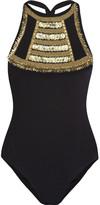 Melissa Odabash Bali embellished halterneck swimsuit