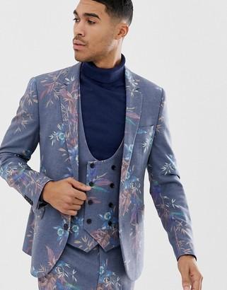 ASOS DESIGN skinny suit jacket in printed blue floral wool mix