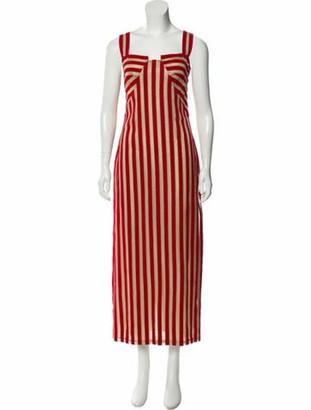 Sandra Mansour 2018 Striped Dress w/ Tags red
