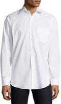 Neiman Marcus Classic-Fit Regular-Finish Solid Sport Shirt, White