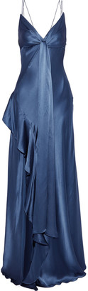 Nicholas Tie-front Ruffle-trimmed Silk-charmeuse Gown