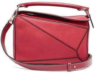 Loewe Puzzle Small Grained-leather Cross-body Bag - Womens - Red