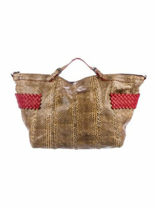 Bottega Veneta Intrecciato-Trimmed Snakeskin Tote Brown