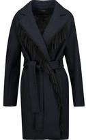 Maje Belted Fringed Wool-Blend Felt Coat