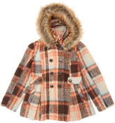 Urban Republic Brown Plaid Faux Fur-Accent Pleated Peacoat - Toddler & Girls