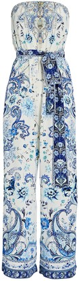 Camilla Printed Strapless Tie-Waist Jumpsuit