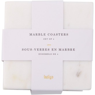 Indigo White Marble Square Coasters Set of 4