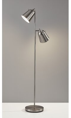"""Three Posts Baby & Kids Tott and Eling 57.5"""" Task Floor Lamp Finish: Brushed Steel"""