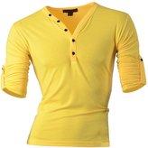 Jeansian Men's Slim Fit Short Sleeves Casual Henleys Shirts D304 LightBlue S