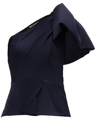 Roland Mouret Toulon Silk Seersucker Top - Womens - Navy