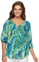 Chaps Petite Printed Crinkle Blouse