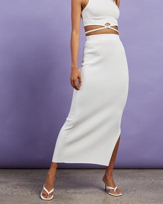 Dazie - Women's White Midi Skirts - Hey Girl Midi Split Skirt - Size S at The Iconic