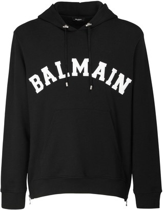Balmain College Logo Cotton Sweatshirt Hoodie