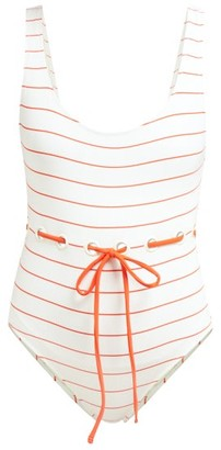Solid & Striped The Anne Marie Tie-waist Swimsuit - White Stripe