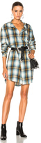 Baja East Flannel Shirt Dress in Blue,Checkered & Plaid.