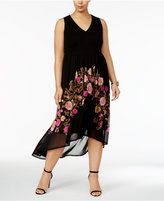 INC International Concepts Plus Size Printed Sheer-Hem Dress, Created for Macy's
