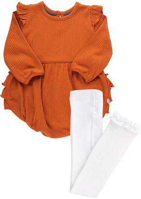 RuffleButts Girl's Orange Spice Rib Knit Bubble Romper w/ Knit Tights, Size 0-24M