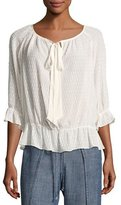 Trina Turk Baez 2 Jacquard Silk-Blend Top, White