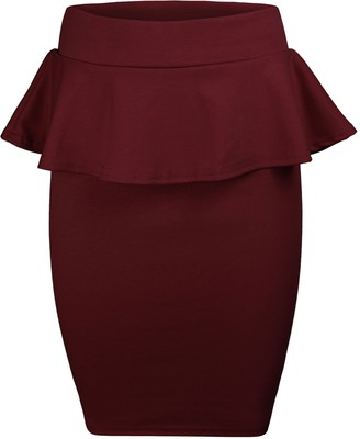 Candid Styles Womens Ladies Celeb Peplum Pencil Frill Bodycon Knee Length Skirt Plus Size 8-22 XXL 20-22 Plus Size