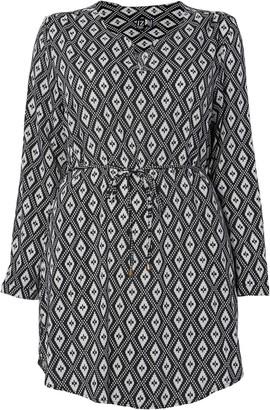 Evans **Izabel Curve Black Tribal Print Tunic Dress