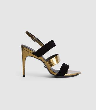 Reiss SERENA LEATHER AND VELVET STRAPPY SANDALS Gold