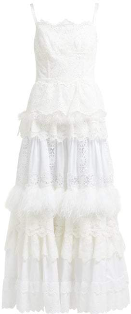 Dolce & Gabbana Floral Cotton Blend Broderie Anglaise Gown - Womens - White