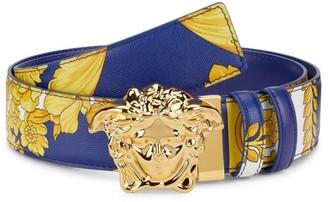 Versace Medusa Hibiscus Baroque-Print Reversible Leather Belt