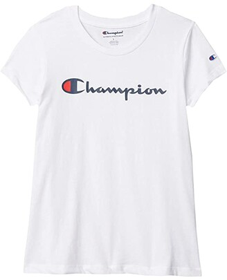 Champion Kids Classic Script Short Sleeve Tee (Big Kids) (Oxford Heather) Girl's T Shirt
