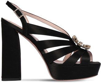 Roger Vivier 120mm Embellished Satin Platform Sandals