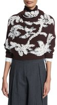Brunello Cucinelli Floral-Embroidered Cropped Cashmere Sweater, Bordeaux/Vanilla