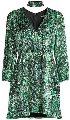Alice + Olivia Rita Blouson Sleeve Print Dress