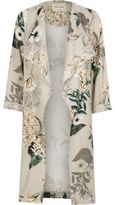 River Island Womens Grey floral print duster coat