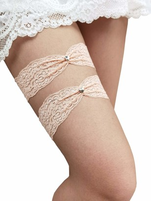YhdDiy Wedding Garter for Bride Garter Set Bridal Heart Lace Gater S22 (Blush)