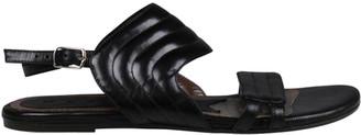Marni Dark Brown Leather Flat Sandals Size 35
