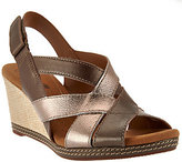 Clarks As Is Leather Cross-strap Wedge Sandals - Helio Coral