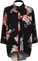River Island Womens Black floral print high low hem shirt