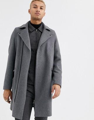 ASOS DESIGN wool mix overcoat in gray with biker detailing