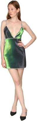 Area Stretch Lame Mini Dress W/crystal Straps