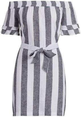New York & Co. Striped Linen Off-The-Shoulder Dress