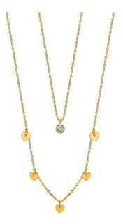 Unwritten Gold Flash Plated Heart Bead Necklace with Clear Cubic Zirconia Pendant