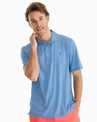 Southern Tide Driver Striped brrr Performance Polo Shirt