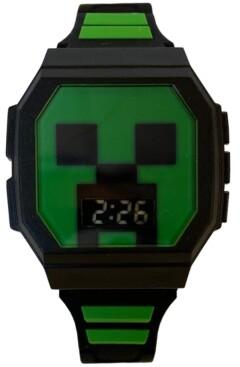 Accutime Kid's Minecraft Digital Black & Green Silicone Strap Watch 36x38mm