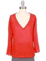ENZA COSTA Cropped Linen V-Neck Sweater