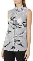 Reiss Bex Printed Silk Top
