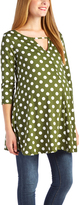 Glam Green & White Polka Dot Keyhole Maternity Swing Tunic