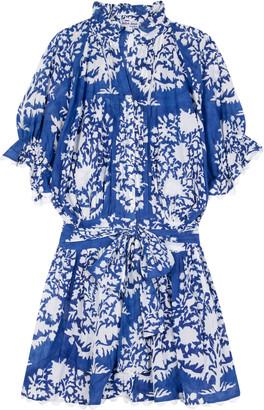 Juliet Dunn Scallop-Trimmed Palladio-Print Cotton Mini Shirt Dress