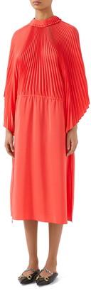Gucci Plisse Crepe de Chine Long Sleeve Midi Dress