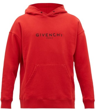 Givenchy Distressed-logo Print Cotton Hooded Sweatshirt - Red