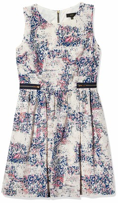 Donna Ricco Women's Sleeveless All Over Printed Fit Flare with Zippers On Hips
